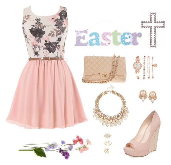 """Easter Sunday"" by cori-felton ❤ liked on Polyvore featuring Jessica Simpson, Chanel, Anne Klein, Carolee and Charlotte Russe"