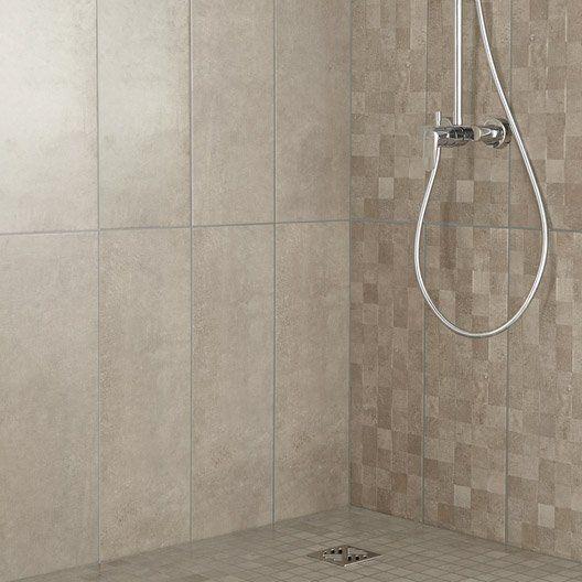 Fa ence mur taupe vision x cm salle de bain for Prix carrelage salle de bain