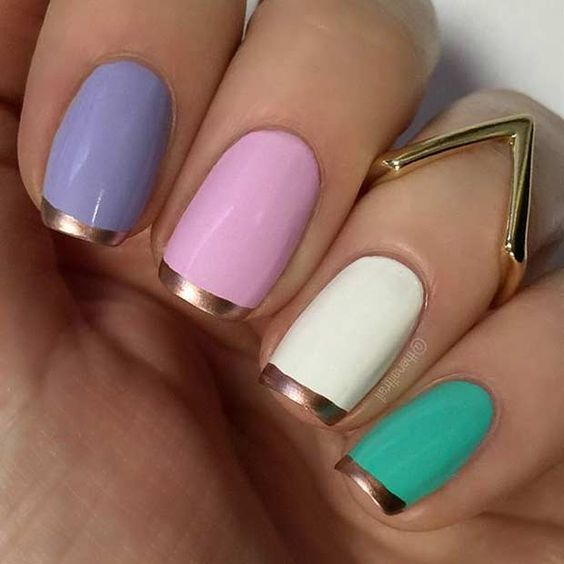 1 Colorful Nails with Rose Gold French Tips
