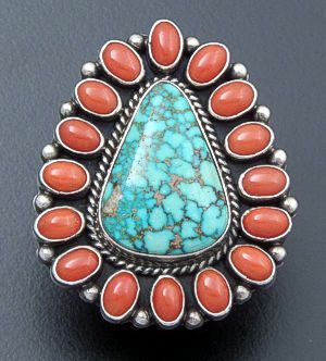 LaRose Ganadonegro (Navajo)- Turquoise & Coral Sterling Silver Cluster Ring #32992 Size 8 $360.00