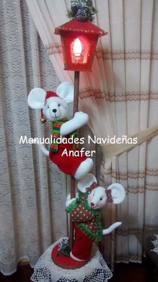 Farol con ratones navide os s 160 00 en mercadolibre for Decoracion navidena hogar