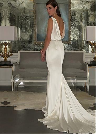 Satin creative and rhinestones on pinterest for Satin cowl neck wedding dress
