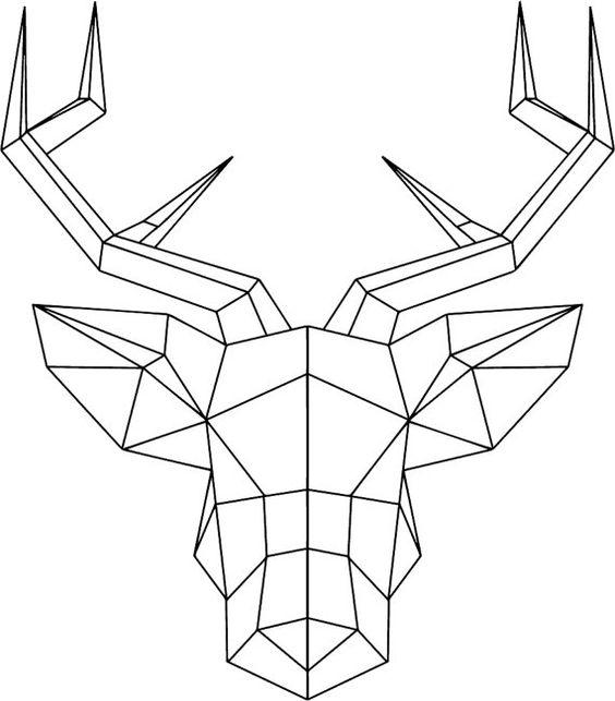 Geometric Deer Head With Antlers Wallsticker By TotalVinylDesign