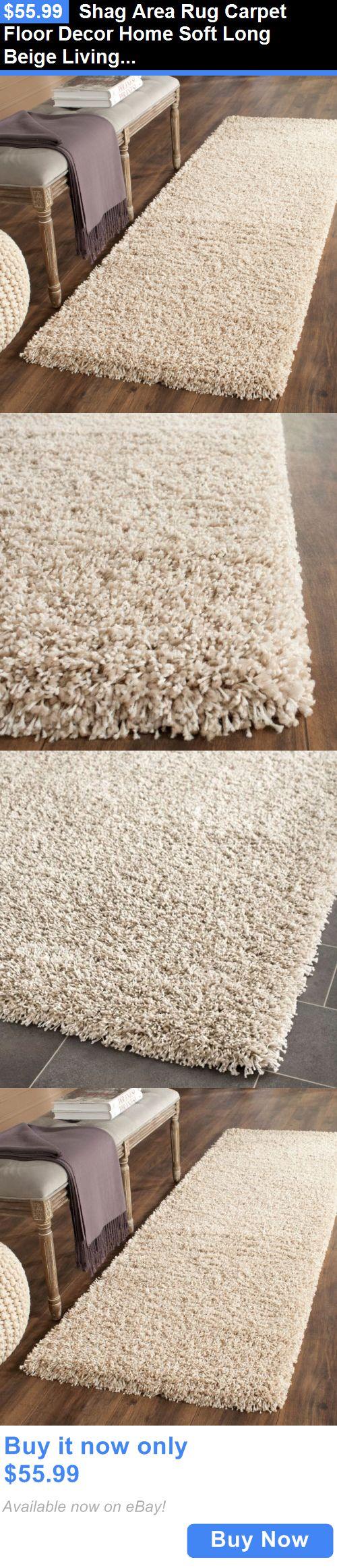 household items: Shag Area Rug Carpet Floor Decor Home Soft Long Beige Living Room Office Bedroom BUY IT NOW ONLY: $55.99