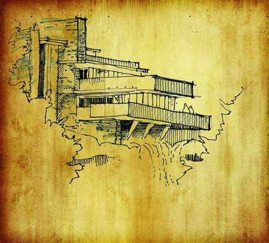 Croquis original de la Casa de la Cascada. Frank Lloyd Wright