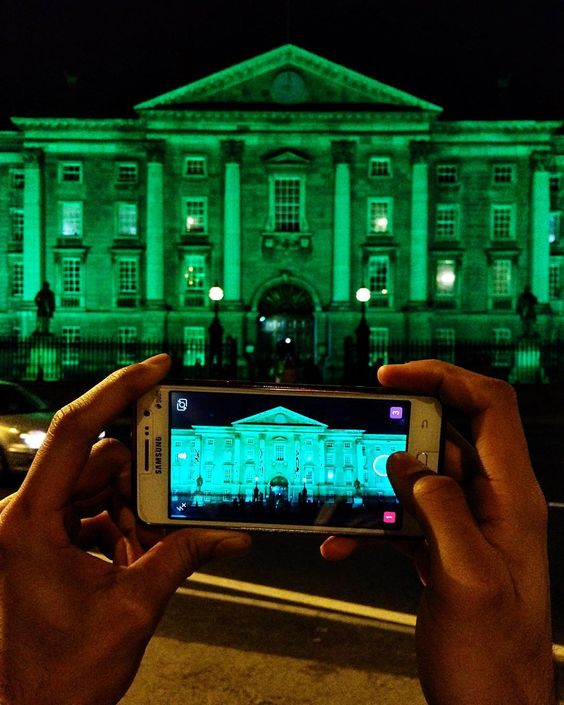 Go green for St. Patrick's Day tomorrow folks. Lá Fhéile Pádraig sona daoibh. Lots of buildings are going green globally like College Green which tonight seems very aptly named  Photo by @jack_caffrey your #BBCLocalite for #Dublin #Ireland #LoveDublin #GlobalGreening by bbc_travel