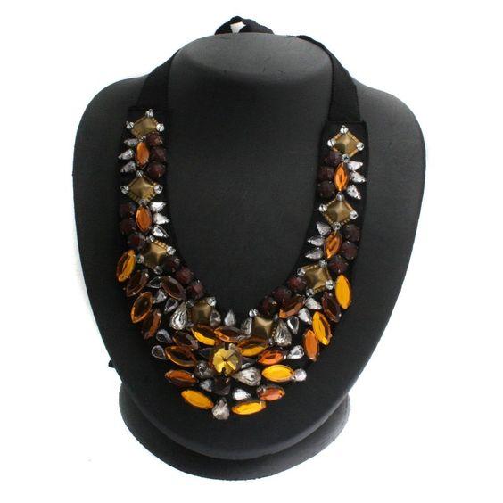 "RK by Ranjana Khan Metallic Crystal Accented 57"" Bib Necklace 212I #RKbyRanjanaKhan #Bib"
