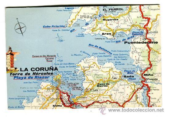 A Coruña Mapa España.Antigua Postal Circulada La Coruna Mapa Turistico Rias