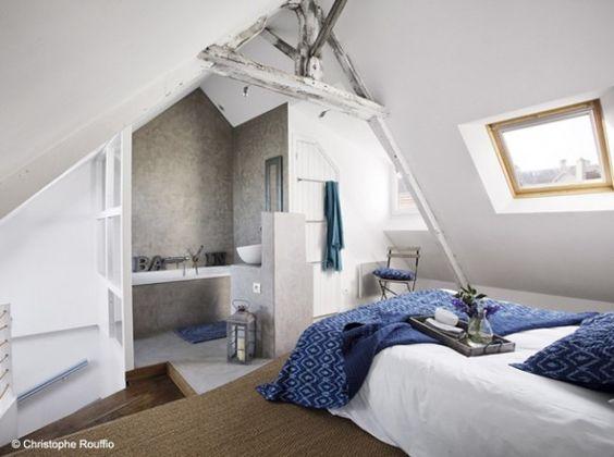 Nice salle de bains and d co on pinterest - Exemple de salle de bains sous comble ...