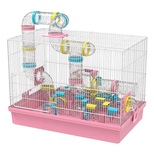 Gnb Pet Large Hamster Cage And Habitat Diy 20a A X12x15 With Tunnels Tubes Toys For Gerbil Mouse Mice Pink Cool Hamster Cages Hamster Cages Hamster Cage