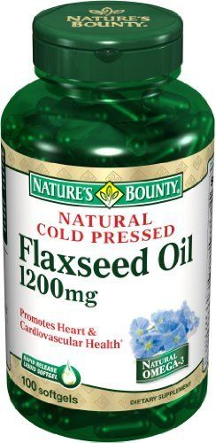 Nature's Bounty Natural Cold Pressed Flaxseed Oil, 1200mg, 100 Softgels (Pack of 2) by Nature's Bounty. $14.25. Amazon.com Product Description      Flaxseed Oil 1200 mg100 + 25 Bonus SoftgelsFlaxseed Oil 1200 mgProvides one of the most concentrated plant sources of omega-3s found in nature.Nature's Bounty flaxseeds are pressed at very cold temperatures and are processed without solvents.Nature's Bounty Flaxseed Oil Softgels feature flaxseed oil, a premium source...