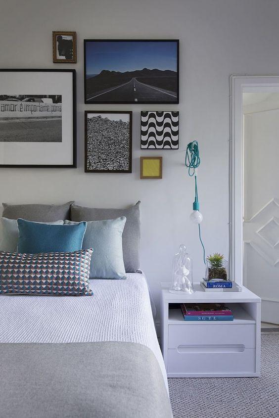 Design e arte colorem apartamento de 280 m² Jogo de quadros interessante e luminária - modernização barata: