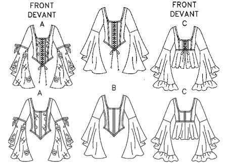 Fancy kirtle pattern. Super easy, and one could leave out the side ...