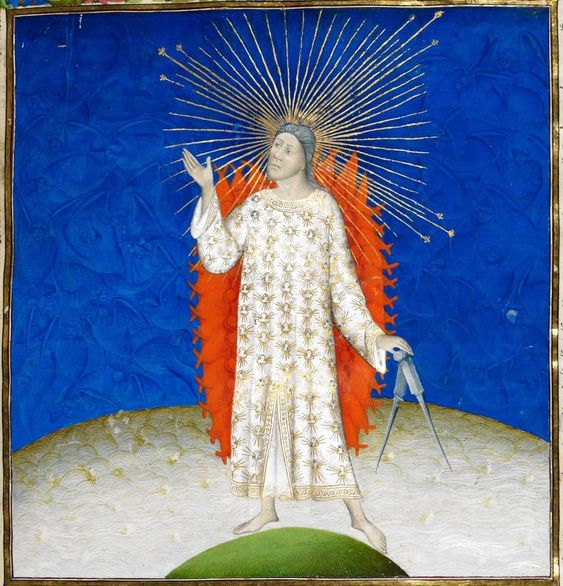 "Medieval History on Instagram: ""God the Creator, depicted in a French Bible from 1411.  Thanks for 1000 followers! I couldn"