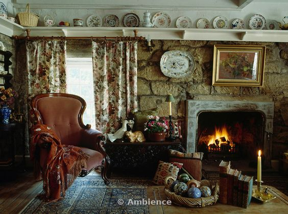 Image detail for -... in livingroom with plateshelf above stone walls and floral curtains