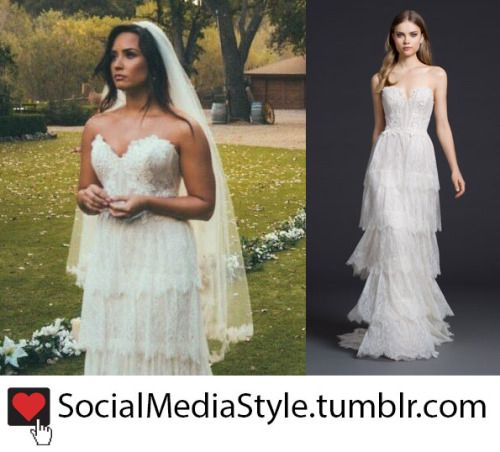 Demi Lovato S Strapless Tiered Lace Wedding Gown From The Tell Me You Love Me Music Video Wedding Gowns Lace Dream Wedding Dresses Demi Lovato Dress