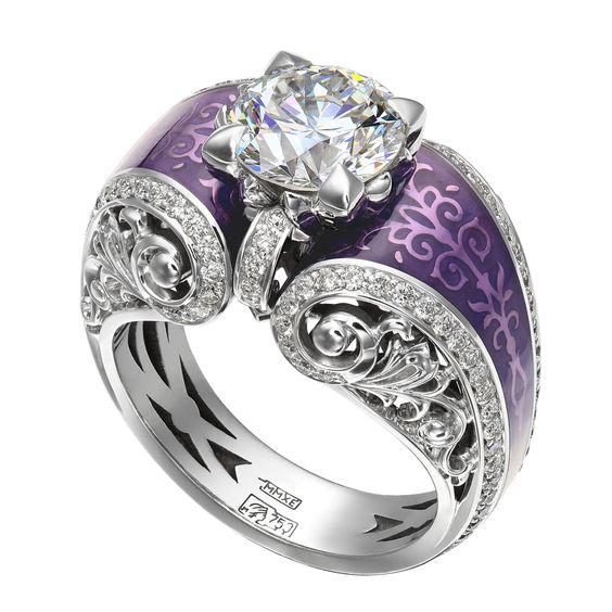 Diamond and purple enamel engagement ring. So unique!  How does one get purple enamel??