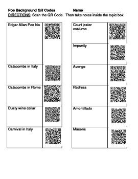 "I created this worksheet as a pre-reading activity for ""The Cask ..."