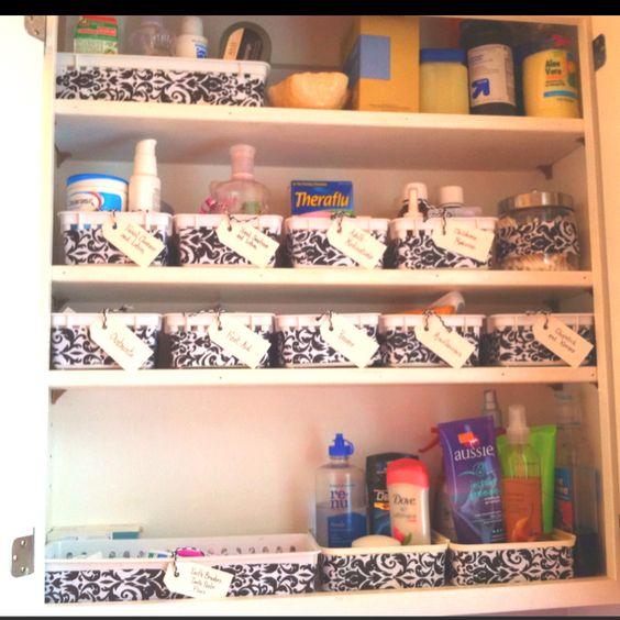 My newly organized bathroom cabinet