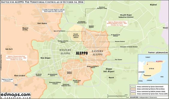#Syria civil #war #battle for Eastern #Aleppo territorial control overview #map October 14 #SAA #FSA edmaps.com/html/syrian_ci…