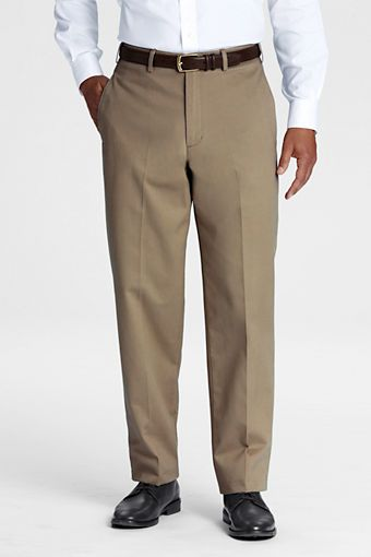 Mens Plain Front Traditional Fit No Iron Chino Pants from Lands End