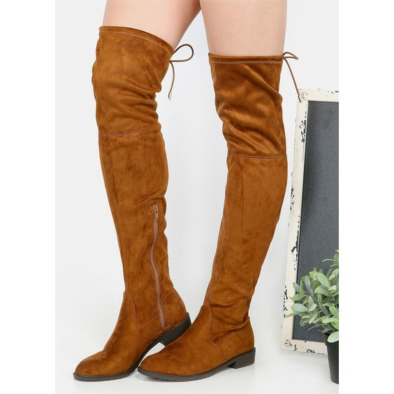 Faux Suede Thigh High Boots RUST ($36) ❤ liked on Polyvore featuring shoes, boots, red, red thigh boots, side zip boots, flats boots, flat heel boots and over the knee boots