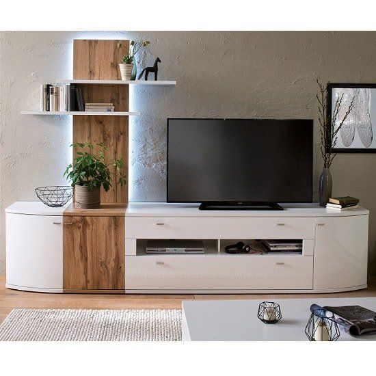 Franzea Living Room Set 2 In White Gloss Fronts And Oak With Led Attractive And Modern Living Room Set Will Add A Style Dizajn Interera Mebel Uyutnyj Ugolok