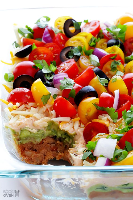 7 Layer Dip -- a fresh recipe for this classic dip that's always a crowd-pleaser! | gimmesomeoven.com:
