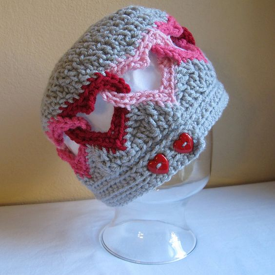 Cute crochet hat sized for 0 mos. thru 10 yrs. plus S through L adult. $4.99. Perfect valentine gift