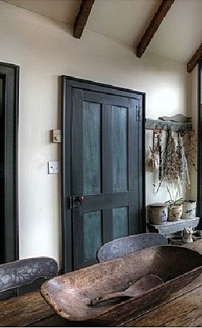 love the treenware bowl, hanging dried flowers PLUS the door...