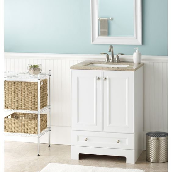 Shop Style Selections Emberlin White Integral Single Sink Bathroom Vanity  with Solid Surface Top (Common
