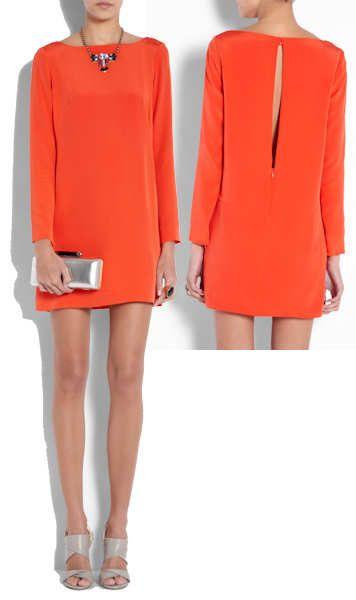 tibi red silk shift dress
