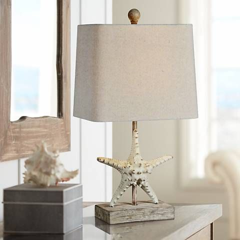 Forty West Darla 19 1 2 H Coastal White Starfish Table Lamp 19n79 Lamps Plus Coastal White Table Lamp Coastal Lamp