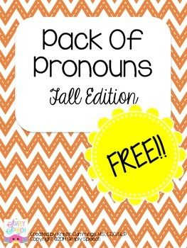 Pack Of Pronouns: Fall Edition by Simply Speech. 20 picture cards to practice and assess pronoun use with a fall theme!