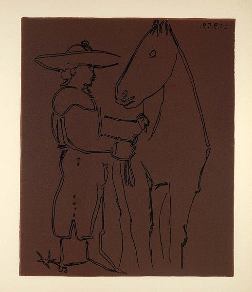 1962 Linocut Picador Horse Spanish Bullfight Picasso - ORIGINAL PIC1 - Period Paper