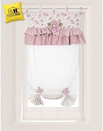 Tenda finestra con embrasse Angelica Home & Country Collezione Rose Couture 60 x 160 cm