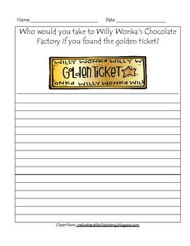Charlie And The Chocolate Factory Golden Ticket Writing Prompt In