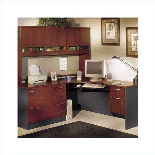 Bush Furniture Corner Home Office Wood Desk Set With Hutch In Hansen Cherry Finish By