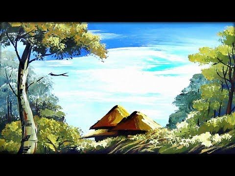 Village Scenery Drawing Nature Painting For Kids Landscape