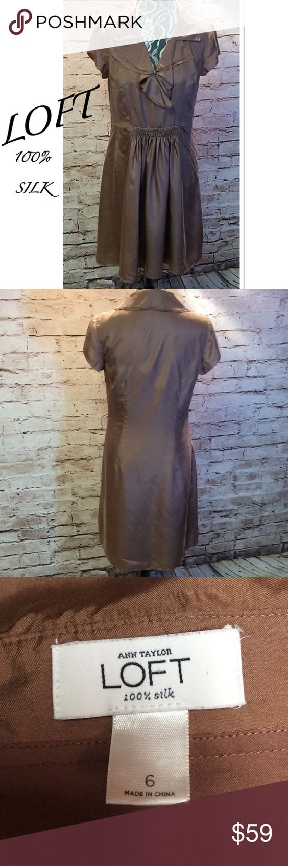 ANN TAYLOR LOFT DRESS Very classy dress in mocha. Pretty Ruffled neckline. Gently used LOFT Dresses