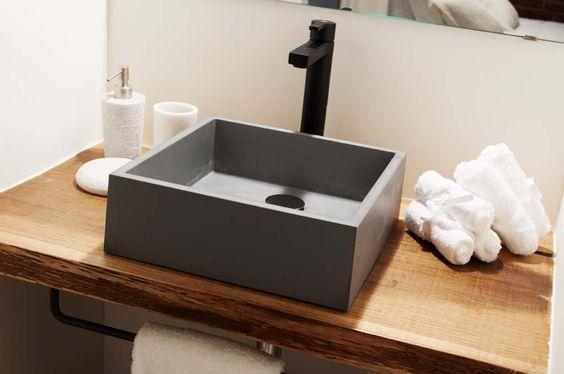 Tope de madera para lavamanos ba os peque os caba a for Lavamanos rusticos de madera