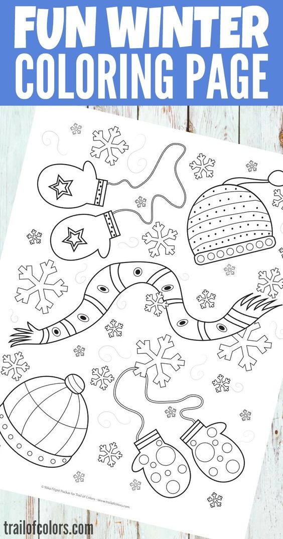 Free Winter Coloring Page for Kids | Trail of Colors - It is time to make more coloring pages for your little ones :). I hope they will like this lovely free printable Winter Coloring Page for Kids.