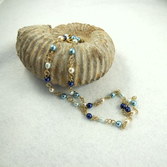 Necklace, Pearly Chain, Ocean Blues