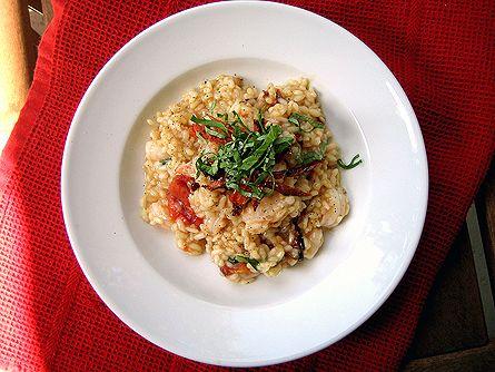 Shrimp and slow-roasted tomato risotto @Mary J