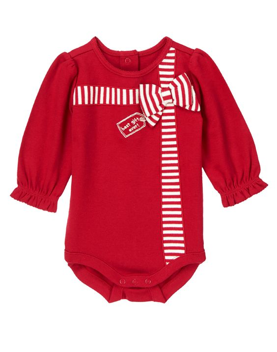 Wrap your best gift ever in a cute and comfy holiday bodysuit complete with sweet ribbon 3-D appliqué.