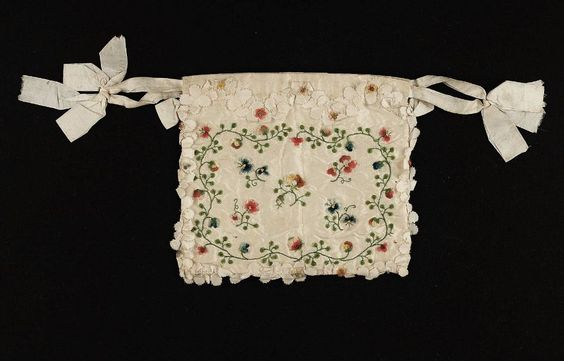 18th century, France - Drawstring bag - Horsehair and Silk; Taffeta, embroidery