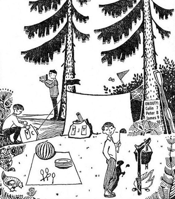 キャンプ場のイラストを見て、9つの問いに答えよう。 木の張り紙には、「当番表:コリン 7日、ピーター 8日、ジェームズ 9日、(隠れている)10日」と書かれている。