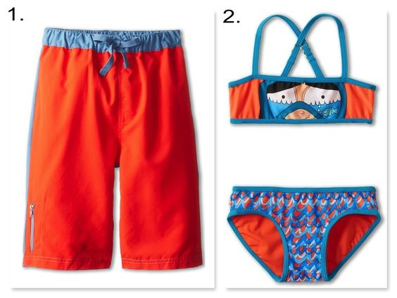 | hot lava & turquoise color block Swimsuits |