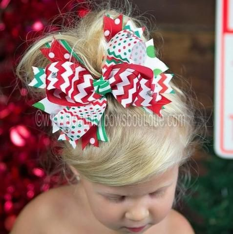 Christmas Red and Green Chevron Over the Top Hair Bow 6 inch Christmas Bow-Over the Top Headband