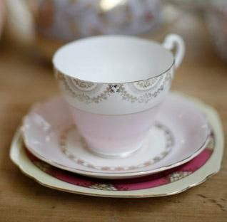 Vintage china trio for tea.